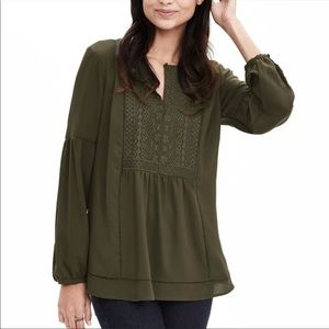 Banana Republic Embroidered Olive Peasant Blouse